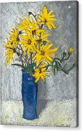 Golden Sunflowers In Blue Vase Acrylic Print by Judy Adamson