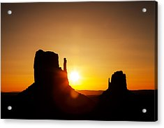 Golden Sunrise In Monument Valley National Park Acrylic Print