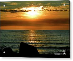 Acrylic Print featuring the photograph Golden Sunset At The Beach IIi by Mariola Bitner