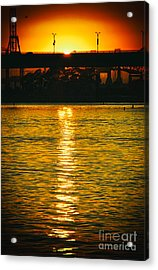 Acrylic Print featuring the photograph Golden Sunset Behind Bridge by Mariola Bitner
