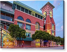 Golden Sunset Glow On The Facade Of Minute Maid Park - Downtown Houston Harris County Texas Acrylic Print