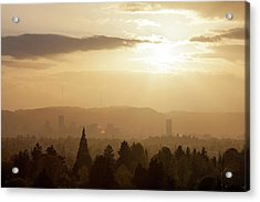 Golden Sunset Over Portland Skyline Acrylic Print by David Gn