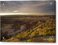 Golden Sunset Over The Painted Desert Acrylic Print by Melany Sarafis
