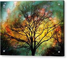 Golden Sunset Treescape Acrylic Print