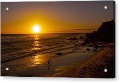 Acrylic Print featuring the photograph Golden Sunset Walk On Malibu Beach by Jerry Cowart