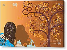 Acrylic Print featuring the digital art Golden Swirl Girls by Kim Prowse