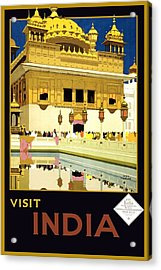 Golden Temple Amritsar India - Vintage Travel Advertising Poster Acrylic Print