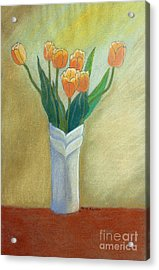 Golden Tulips Acrylic Print by Norma Appleton