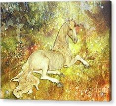 Golden Unicorn Dreams Acrylic Print