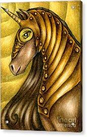 Golden Unicorn Warrior Art Acrylic Print