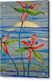 Acrylic Print featuring the painting Golden Waikiki Sunset by Erika Swartzkopf