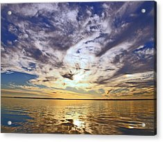 Golden Water Sunset Acrylic Print by James Granberry