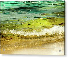 Golden Waves At Pacific Grove California Near Lover's Point Acrylic Print