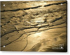 Golden Waves Acrylic Print by Cindy Tiefenbrunn