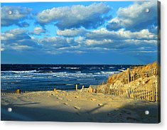 Golden Winter Light Over Cape Cod Bay Acrylic Print by Dianne Cowen
