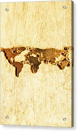 Golden World Continents Acrylic Print