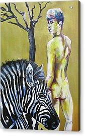 Golden Zebra High Noon Acrylic Print