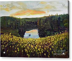 Goldenrods On Davenport Lake-ellijay, Ga  Acrylic Print
