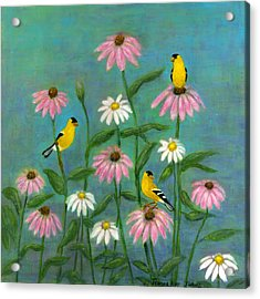 Goldfinch And Cone Flowers Acrylic Print by Jeanne Kay Juhos