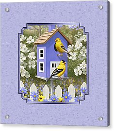 Goldfinch Birdhouse Lavender Acrylic Print by Crista Forest