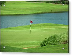 Golf Approaching The Green Acrylic Print by Chris Flees