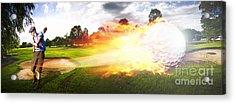 Golf Ball On Fire Acrylic Print