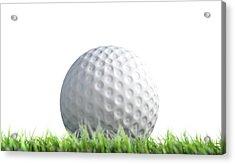 Golf Ball Resting On Grass Acrylic Print by Allan Swart
