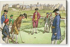 Golf Being Played In St Andrews In The 18th Century Acrylic Print