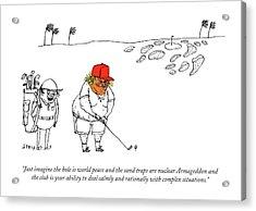 Golf Caddy Instructs Trump Acrylic Print