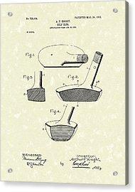 Golf Club 1903 Patent Art Acrylic Print by Prior Art Design