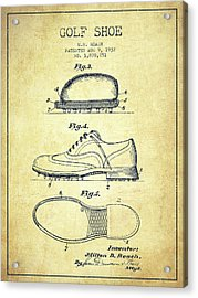 Golf Shoe Patent Drawing From 1931 - Vintage Acrylic Print