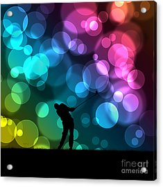 Golfer Driving Bokeh Graphic Acrylic Print by Phil Perkins