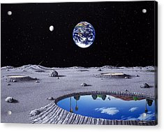 Golfing On The Moon Acrylic Print by Snake Jagger