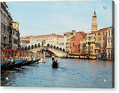 Gondola At The Rialto Acrylic Print