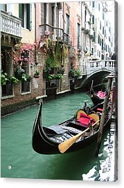 Gondola By The Restaurant Acrylic Print by Donna Corless