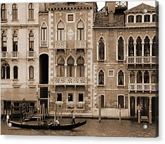 Gondola Crossing Grand Canal Acrylic Print by Donna Corless