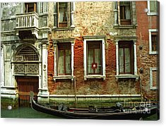Gondola In Front Of House In Venice Acrylic Print by Michael Henderson