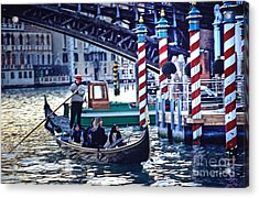 Gondola In Venice On Grand Canal Acrylic Print by Michael Henderson
