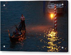 Gondola Ride On Grand Canal At Night Acrylic Print by Michael Henderson
