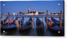 Acrylic Print featuring the photograph Gondolas And San Giorgio Maggiore At Night - Venice by Barry O Carroll