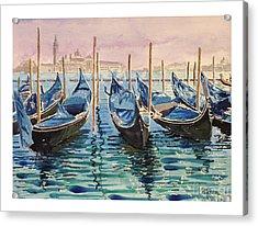 Gondolas At The Pier Venice Acrylic Print