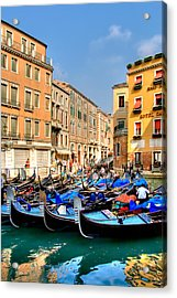 Gondolas In The Square Acrylic Print by Peter Tellone