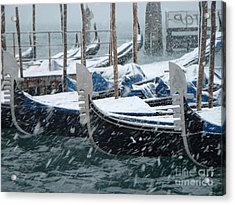 Gondolas In Venice During Snow Storm Acrylic Print by Michael Henderson