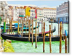 Gondolas On The Grand Canal Venice Italy Acrylic Print