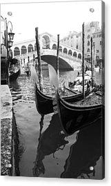 Gondole At Rialto Bridge Acrylic Print by Marco Missiaja