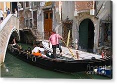 Gondolier By The Bridge- Venice Acrylic Print by Italian Art