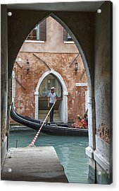 Gondolier In Frame Venice Italy Acrylic Print