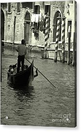Acrylic Print featuring the photograph Gondolier In Venice   by Frank Stallone