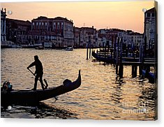 Gondolier In Venice In Silhouette Acrylic Print by Michael Henderson