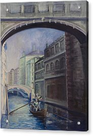 Gondoliers Acrylic Print by Victoria  Shea